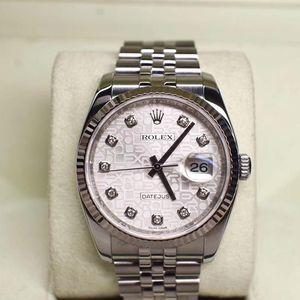 Rolex 劳力士日志型116234-G-63600银盘LOGO纹大包钻系列机械表
