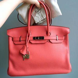 Hermès 爱马仕橘粉色birkin35手提包