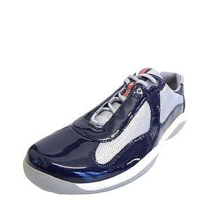 PRADA 普拉达男士织物拼漆皮休闲运动鞋