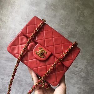 CHANEL 香奈儿vintage红色小方单肩包