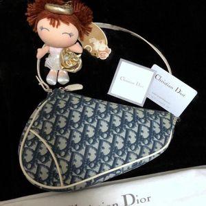 Dior 迪奥青花瓷蓝白老花马鞍手提包