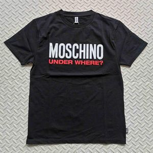 Moschino 莫斯奇诺黑色圆领胶印字母图案短袖T恤