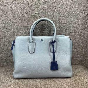 MCM 女士蓝色牛皮手提包