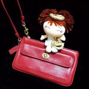 COACH 蔻驰中国红全皮双层麻将手提包