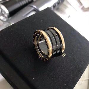 BVLGARI 宝格丽黑陶瓷四环戒指