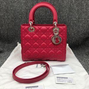 Dior 迪奥女士红色戴妃五格手提单肩包