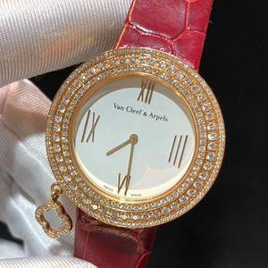 Van Cleef Arpels 梵克雅宝玫瑰金后镶钻石ARO4HU00女士石英腕表