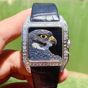 Cartier 卡地亚山度士后镶钻石机械表