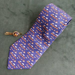 Hermès 爱马仕LD04004男士重磅真丝童趣印花商务领带