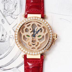 Cartier 卡地亚创意珠宝系列18k玫瑰金原镶钻男士机械表