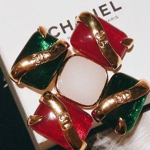 CHANEL 香奈儿vintage红绿琉璃重工十字胸针
