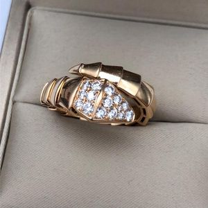 BVLGARI 宝格丽SERPENTI系列18K玫瑰金镶钻蛇形戒指