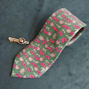 Hermès 爱马仕LD04009男士重磅真丝春日樱桃印花领带