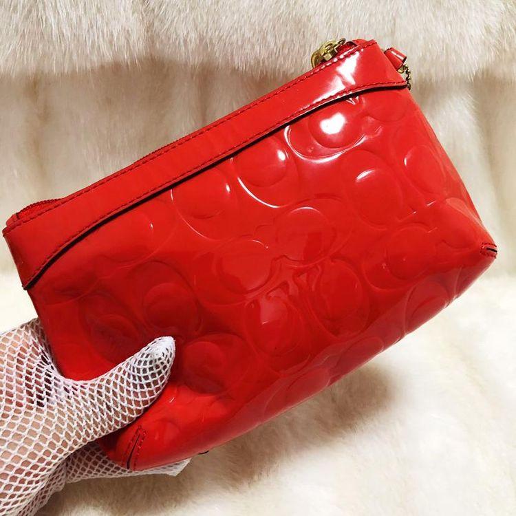 COACH 蔻驰西瓜红漆皮压纹麻将手提包