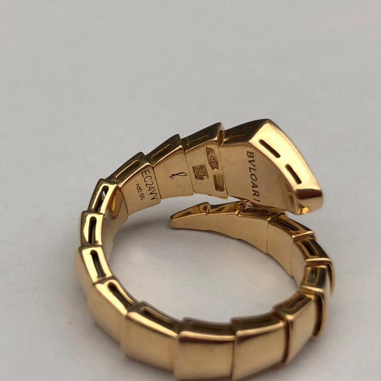 BVLGARI 宝格丽H19527SERPENTI系列18K玫瑰金镶钻蛇形戒指