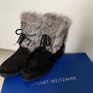 stuart weitzman 斯图尔特·韦茨曼麂皮兔毛女装短靴