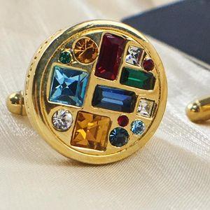 Versace 范思哲彩虹天堂钻石纽扣型金色袖扣