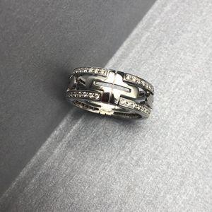 BVLGARI 宝格丽双环白金钻石戒指