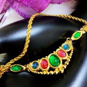Dior 迪奥全包金炫彩琉璃猫眼项链