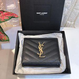 Yves Saint Laurent 伊夫·圣罗兰黑色荔枝皮金扣短款三折钱包