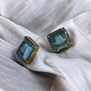 Versace 范思哲蓝色钻透明糖美杜莎头像镶嵌工艺金色袖扣