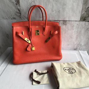 Hermès 爱马仕红金birkin35手提包