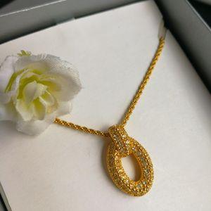 Dior 迪奥XL12006闪钻镀金花环坠细金丝项链锁骨链