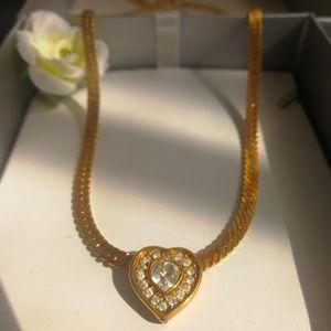 Dior 迪奥心形闪钻镀金坠宽金丝项链