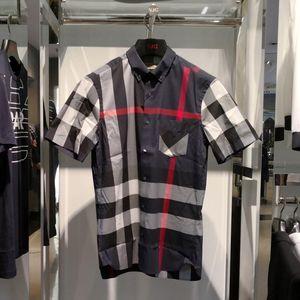 Burberry 博柏利经典海军蓝格纹男士短袖衬衫