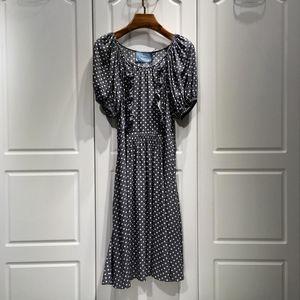 PRADA 普拉达夏季新款女士复古一字肩泡泡袖波点真丝收腰连衣裙