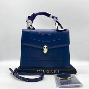 BVLGARI 宝格丽蓝色蛇头单肩包