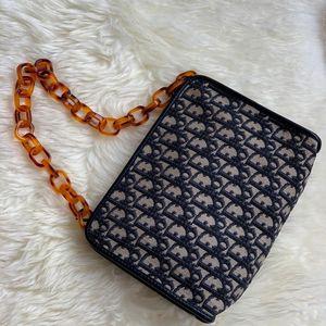 Dior 迪奥中古蓝色老花手拿包