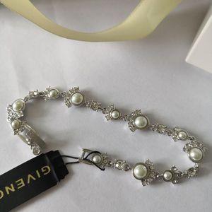 GIVENCHY 纪梵希银色镶钻时尚复古珍珠手链