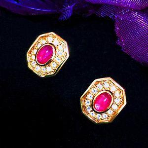 Dior 迪奥限量款猫眼琉璃镶钻包金耳夹