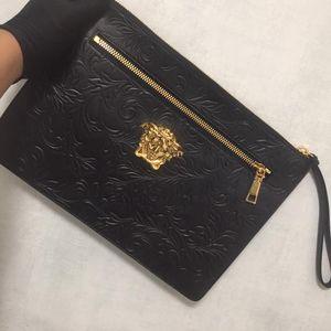 Versace 范思哲荔枝纹花纹大号手包
