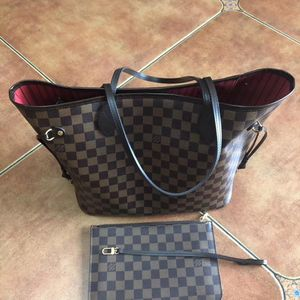 Louis Vuitton 路易·威登棕棋盘格中号子母购物袋