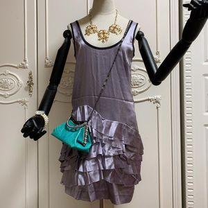 PRADA 普拉达真丝吊带荷叶边连衣裙