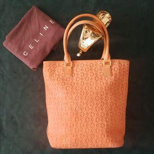Celine 赛琳ST03018樱花粉压纹麂皮手提包