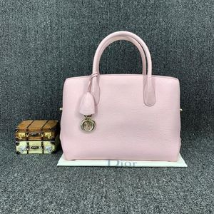 Dior 迪奥樱花粉荔枝纹牛皮bar系列手提包
