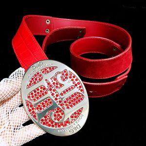 DOLCE&GABBANA 杜嘉班纳限量款中国红满钻大logo腰带