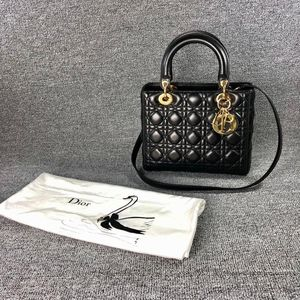 Dior 迪奥黑金五格戴妃包手提包