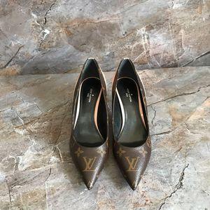 Louis Vuitton 路易·威登粉色拼花低跟鞋