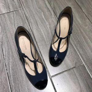 Bottega Veneta 葆蝶家蓝黑拼色中跟鞋
