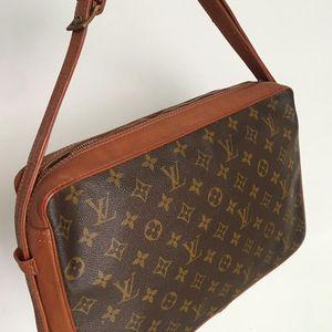 Louis Vuitton 路易·威登老花红皮古董方块单肩斜挎包