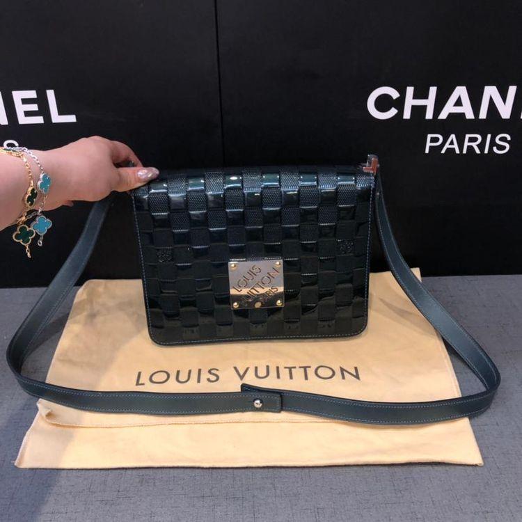 Louis Vuitton 路易·威登vintage墨绿色漆皮翻盖棋盘手提包