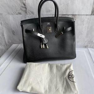 Hermès 爱马仕黑银birkin35手提包