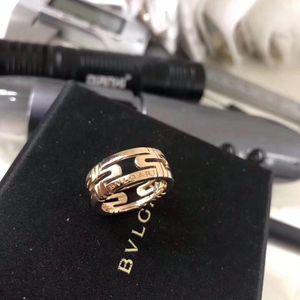 BVLGARI 宝格丽玫瑰金镂空戒指