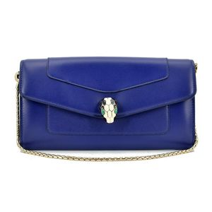 BVLGARI 宝格丽蓝紫色蛇头链条包钱包
