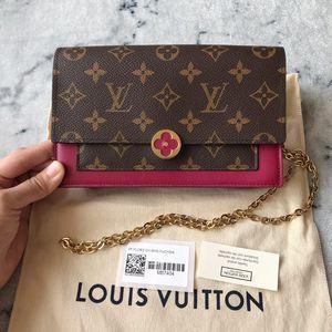 Louis Vuitton 路易·威登flore woc玫红配老花单肩斜挎包