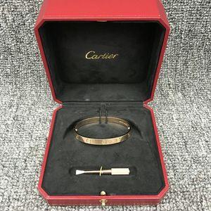 Cartier 卡地亚18K玫瑰金LOVE系列无钻手镯